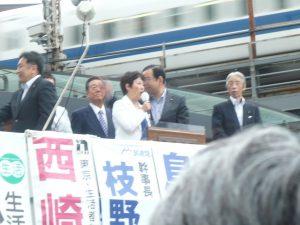 野党5党合同演説会@有楽町イトシア前で、応援の口火を切る、西崎光子都議会議員