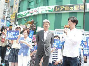 鳥越俊太郎さんへの応援演説にかけつけた奥田愛基さん。7月14日